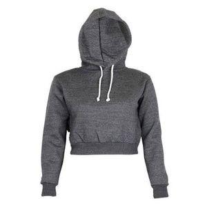 Tops - Cropped Hoodie Pullover Sweatshirt